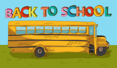 Back to school text colorful School bus cartoon.