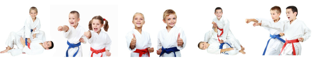 Children  athletes perform reception self-defense collage