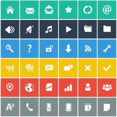 flat icons set - basic internet & mobile app icons