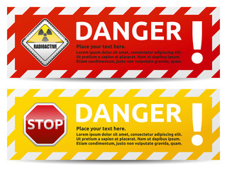 Danger banner 2 color version collection Wall mural