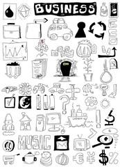 business doodle design elements, hand drawn illustration