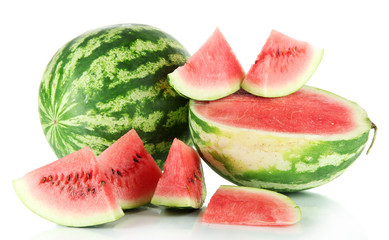 Ripe watermelons isolated on white