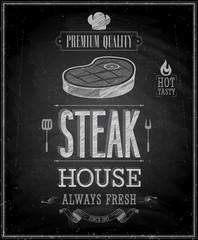 Wall Mural - Vintage Steak House Poster - Chalkboard. Vector illustration.