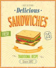 Wall Mural - Vintage Sandwiches Poster. Vector illustration.