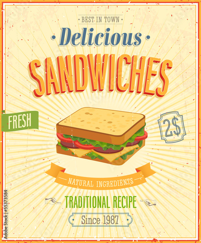Wall mural Vintage Sandwiches Poster. Vector illustration.