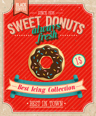 Wall Mural - Vintage Donuts Poster. Vector illustration.
