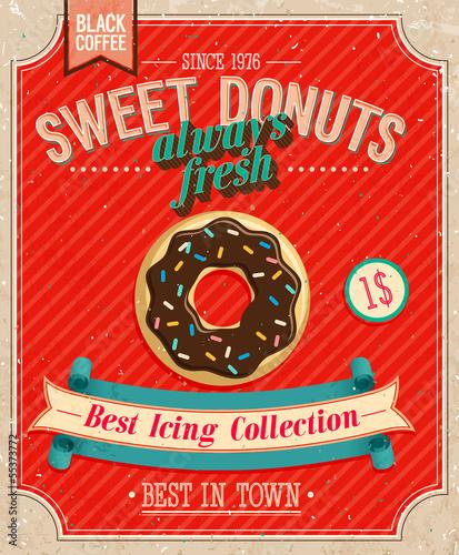 Wall mural Vintage Donuts Poster. Vector illustration.