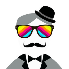 Vintage silhouette of top hat and mustaches