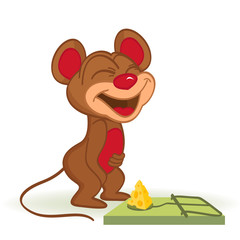 Mouse and cheese in mousetrap - vector illustration