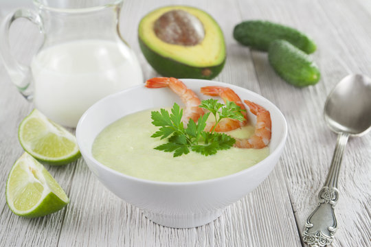 Cold soup with cucumber, avocado and shrimps