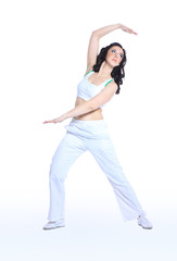young woman in yoga pose on isolated white background