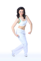 woman in yoga pose on isolated white background