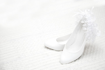 Bridesmaid shoes on light background close-up