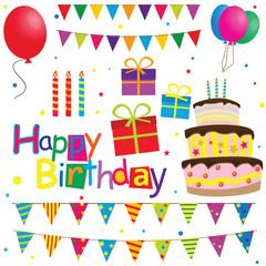 collection of vector birthday party elements