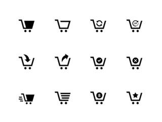 Shopping cart icons on white background.