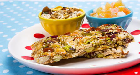 Healthy food. Granola bars