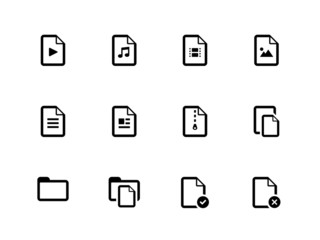 Set of Files icons on white background.