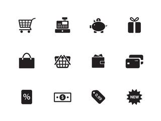 Shopping icons on white background.
