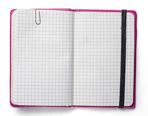 blank page of pink note book with paper clip and elastic strap i