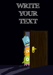 Little cute monsters behind the door