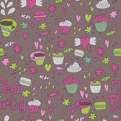 Tea Party Macaron Seamless Pattern Background