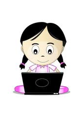 funny girl internet browsing