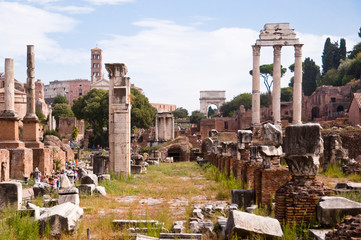 Wall Mural - Roman forum panoramic view from inside