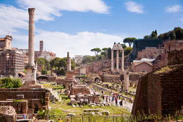 Fototapete - Roman forum panoramic view at Rome