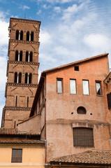 Fototapete - Italia - Roma - Foro Romano - Belfry and Basilica santa Francesc