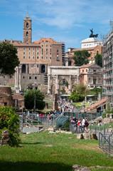 Fototapete - Roman forum on sunny day