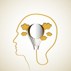 Human head with paper air balloon - symbol Freedom and creativit