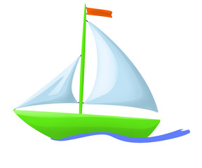 illustration of green floating boat