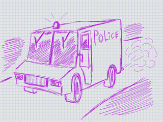 illustration of hadwritten police car