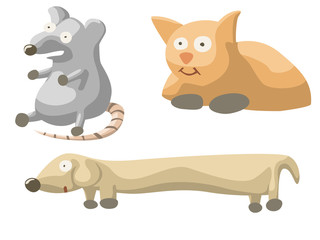 illustration of set with cat dog and mouse