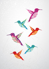 Wall Murals Geometric animals Beautiful humming birds illustration.