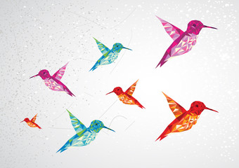 Wall Murals Geometric animals Colorful humming birds illustration.