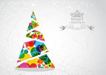 Merry Christmas colorful tree shape.