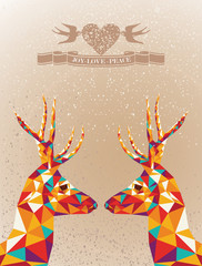 Canvas Prints Geometric animals Merry Christmas colorful reindeers shape.