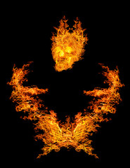 composition with skull in flame on black