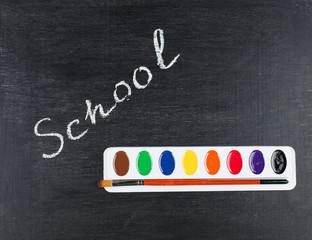 Chalk drawing -  word school on blackboard