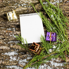 Decorative christmas composition and note
