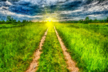 Sunny rural landscape with country road