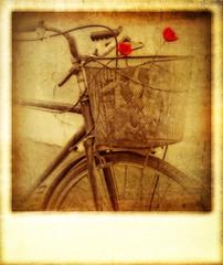 Old vintage effect polaroid of bicycle