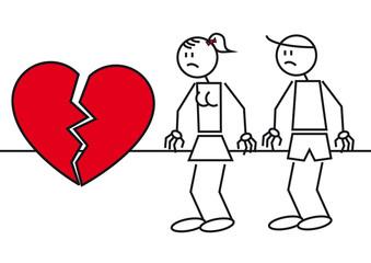 Stick figures heart break