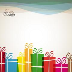 Christmas card with christmas presents - retro vector