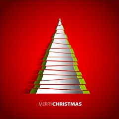 Christmas tree from paper - vector card background - Eps 10