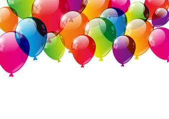Color balloons background with place for text