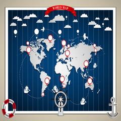 World Map of transportation - vintage illustration