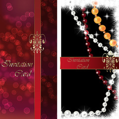 Invitation card red and black with ribbon