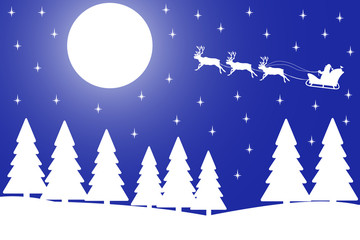 Vector illustration of Christmas night in the winter forest.